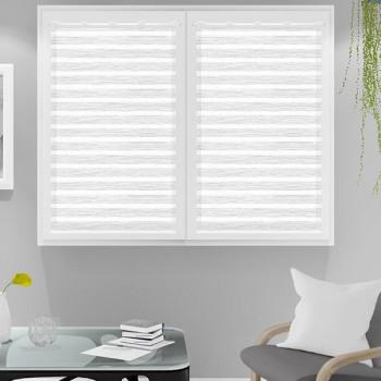 Paire vitrage voile tissé droit blanc rayures 60 x 120 cm