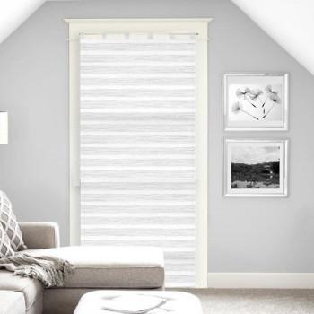 Vitrage voile tissé droit blanc rayures 90 x 200 cm