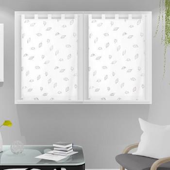Paire vitrage voile tissé droit blanc végétal 60 x 90 cm