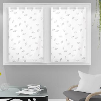 Paire vitrage voile tissé droit blanc végétal 60 x 120 cm