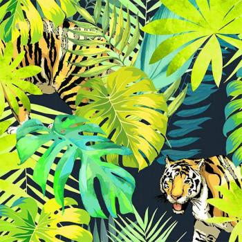 Toile cirée imprimé jungle vert 140 cm