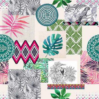 Toile cirée imprimé patchwork végétal vert rose 140 cm