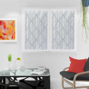 Paire de vitrage voile tissé blanc végétal 60 x 120 cm
