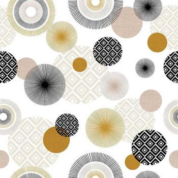 Sous-nappe imprimé mandala beige blanc 140 cm