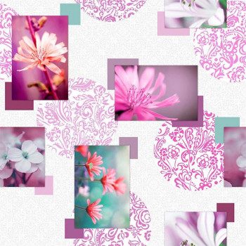 Toile cirée photoprint rose fushia 140 cm