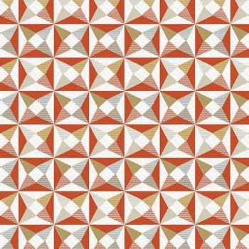 Tissu jacquard motif géométrique orange 150 cm