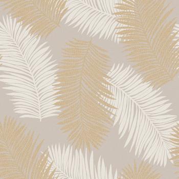 Tissu jacquard motif feuillage beige doré 150 cm