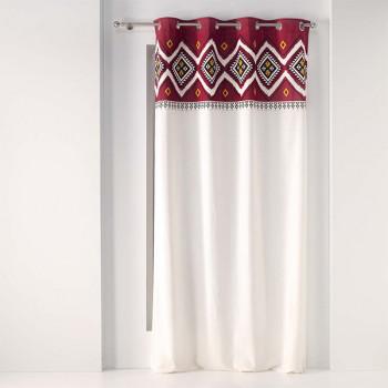 Rideau toile panama bandeau ethnique rouge