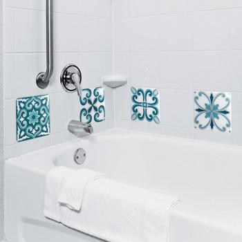 Décoration carrelage imitation carreaux lazzaro prairie bleu