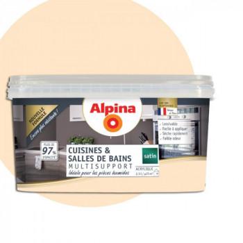 Peinture alpina cuisine & salle de bain blanc cassé satin  2,5L