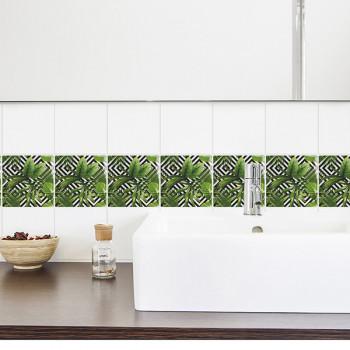 Décoration carrelage imitation carreaux geo tropical vert