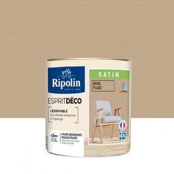 Peinture Ripolin Esprit Déco Murs, plafonds, boiseries et radiateurs beige satin 0,5L