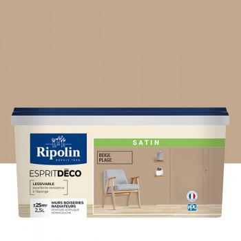 Peinture Ripolin Esprit Déco Murs, plafonds, boiseries et radiateurs beige satin 2,5L