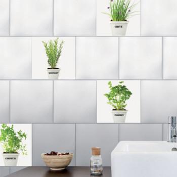 Décoration carrelage imitation carreaux herbes aromatiques