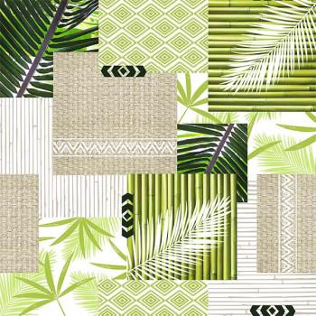 Sous-nappe imprimé patchwork végétal vert 140 cm