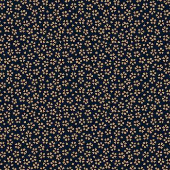 Tissu percale imprimé fleurs bleu marine oekotex 150 cm
