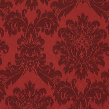 Tissu jacquard motif baroque rouge 140 cm
