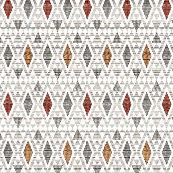 Tissu jacquard géométrique aztèque rouge 140 cm