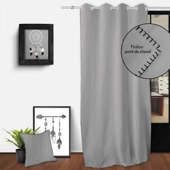 Rideau gris oeillets point feston 135 x 250 cm