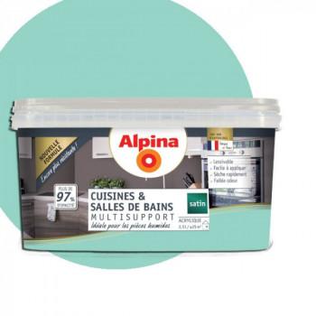 Peinture alpina cuisine & salle de bain menthe glaciale satin 2,5L