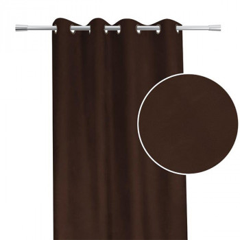 Rideau tissu suédine chocolat