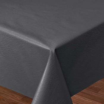Toile cirée simili cuir uni gris anthracite 140 cm