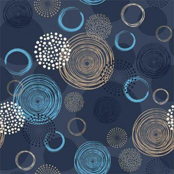 Toile cirée imprimé cercles bleu 140 cm