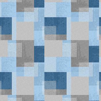 Toile cirée imprimé carré bleu 140 cm