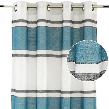 Rideau tissu jacquard bleu à rayures