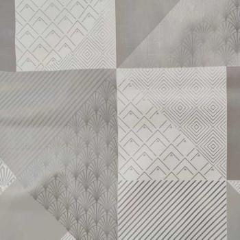 Toile cirée imprimé géométrique patchwork gris 140 cm
