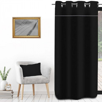 Rideau toile panama noir rayure gris oeillets 135 x 250 cm
