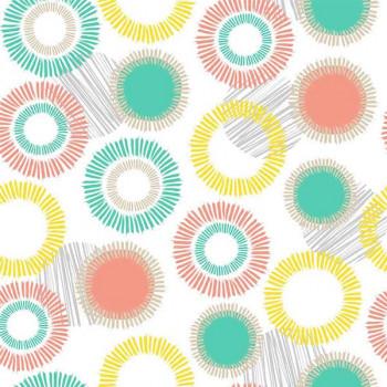 Toile cirée imprimé cercles multicolor 140 cm