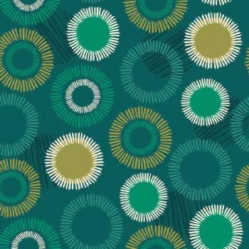 Toile cirée imprimé cercles vert 140 cm