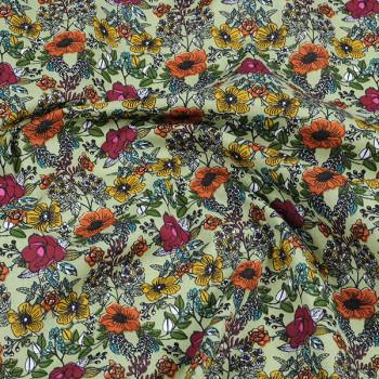 Tissu coton floral vert Oekotex 140 cm
