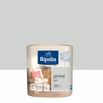 Peinture Ripolin Esprit Déco Murs, plafonds, boiseries et radiateurs gris lomé satin 0,5L