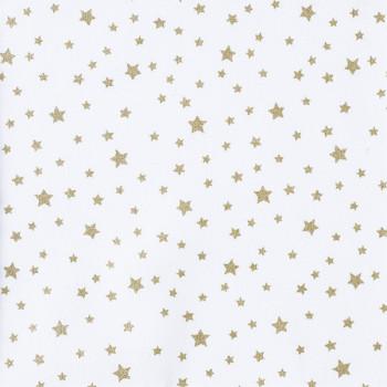Tissu cretonne étoile or Oekotex 150 cm