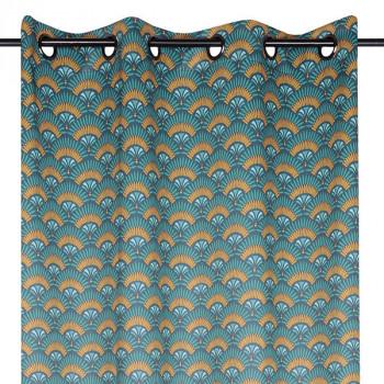 Rideau toile occultant bleu motif éventail