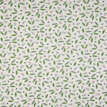 Tissu jersey feuillage vert coton Oekotex 150 cm