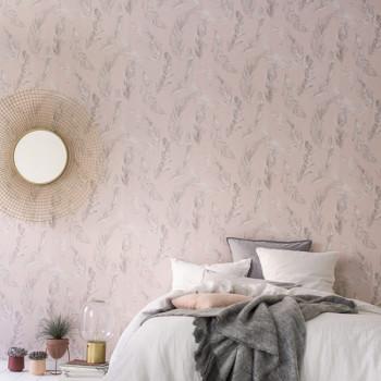 Papier peint intissé lessivable palme rose