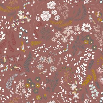 Tissu popeline coton bio imprimé floral rouge 150 cm