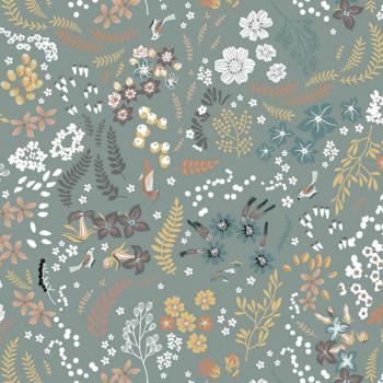 Tissu popeline coton bio imprimé floral vert 150 cm