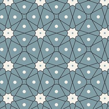 Tissu cretonne géométrique bleu Oekotex 160 cm