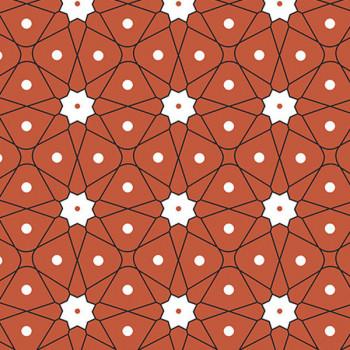 Tissu cretonne géométrique orange Oekotex 160 cm