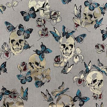 Tissu toile tête de mort bleu or 140 cm