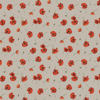 Tissu effet lin coquelicot rouge 140 cm
