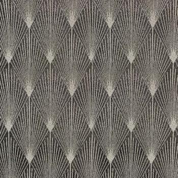 Tissu jacquard fil lurex art déco noir 140 cm