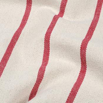 Tissu toile tissé rayure rouge 150 cm