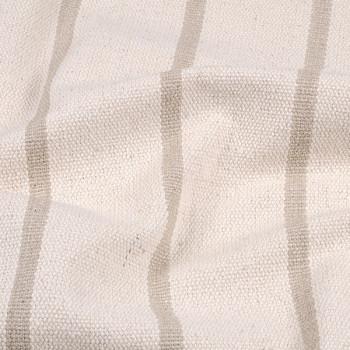 Tissu toile tissé rayure beige 150 cm