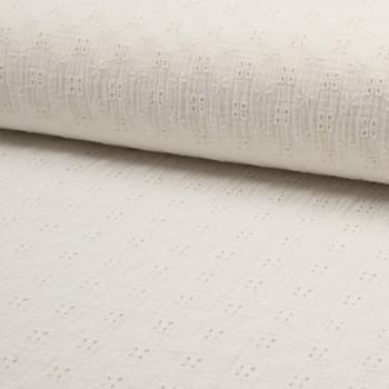 Tissu double gaze brodé écru 135 cm