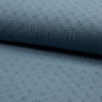 Tissu double gaze brodé bleu 135 cm